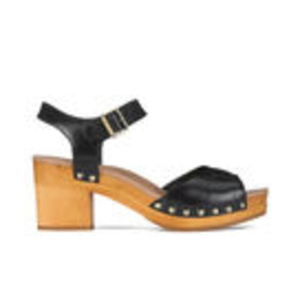 UGG Women's Janie Leather Heeled Sandals - Black - UK 3.5
