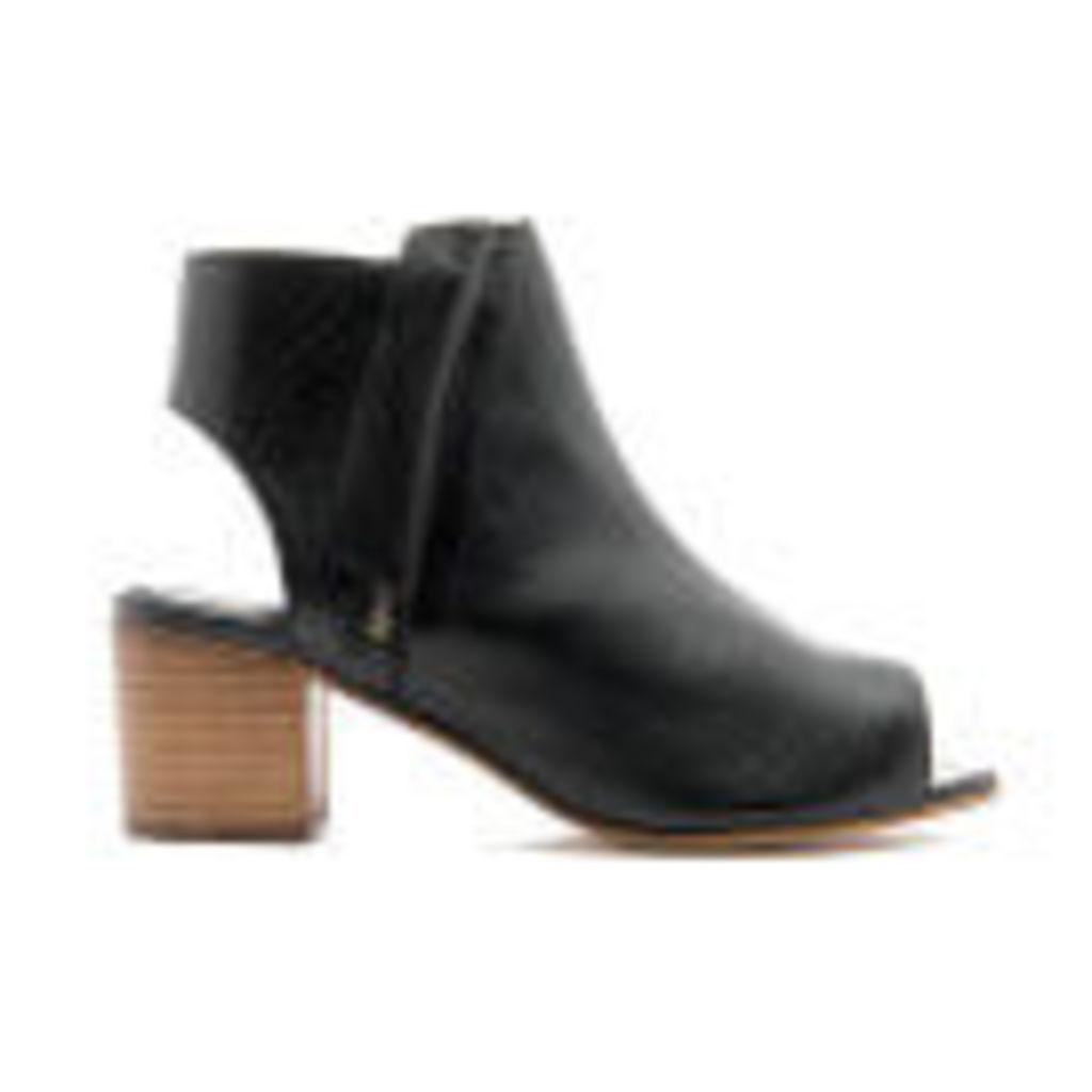Dune Women's Joanna Peep Toe Leather Ankle Boots - Black - UK 4