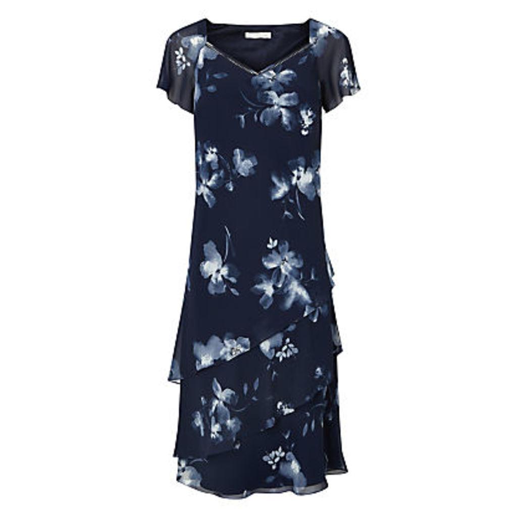 Jacques Vert Layered Print Dress, Navy/Multi