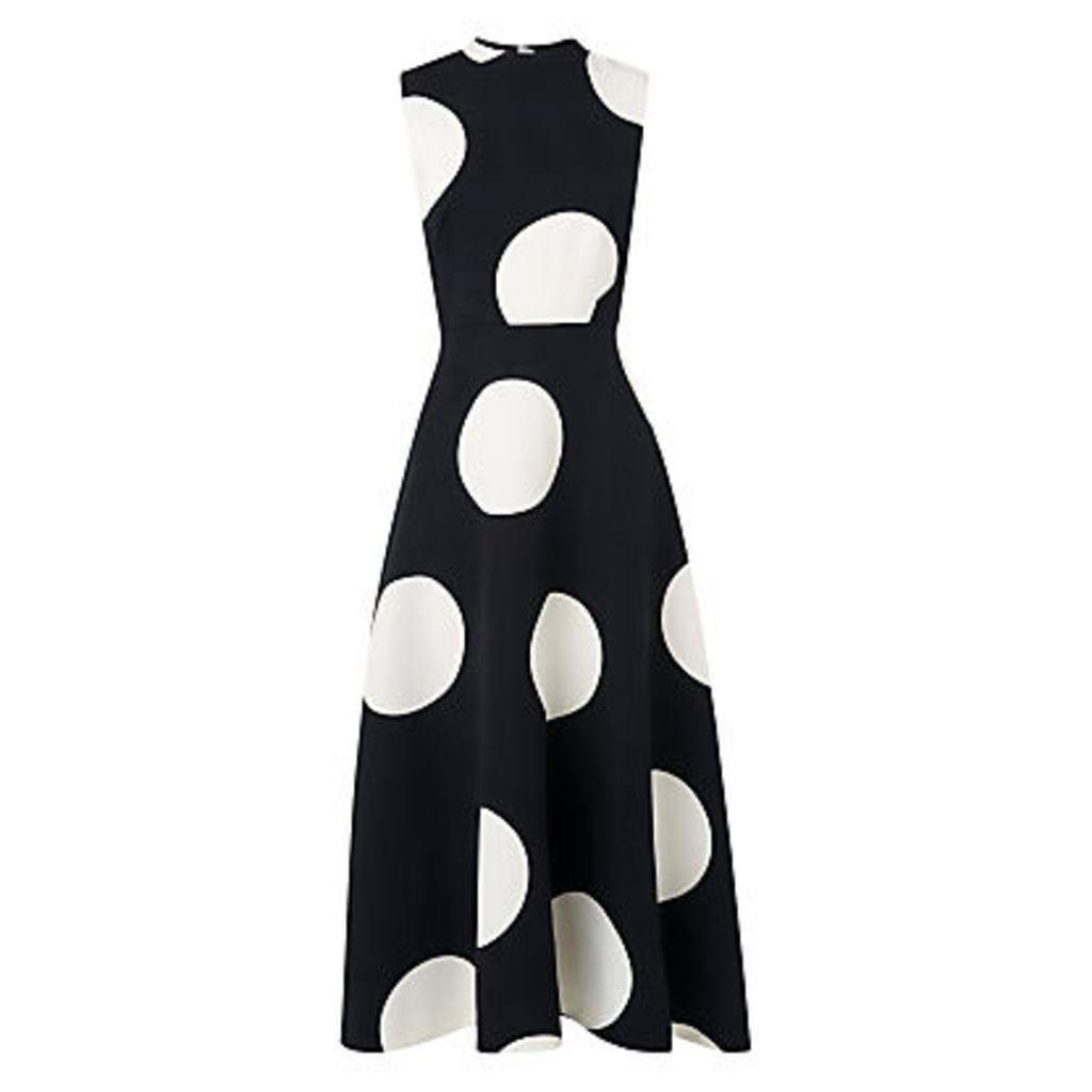 L.K. Bennett Marlin Print Large Polka Dot Dress, Black/Cream