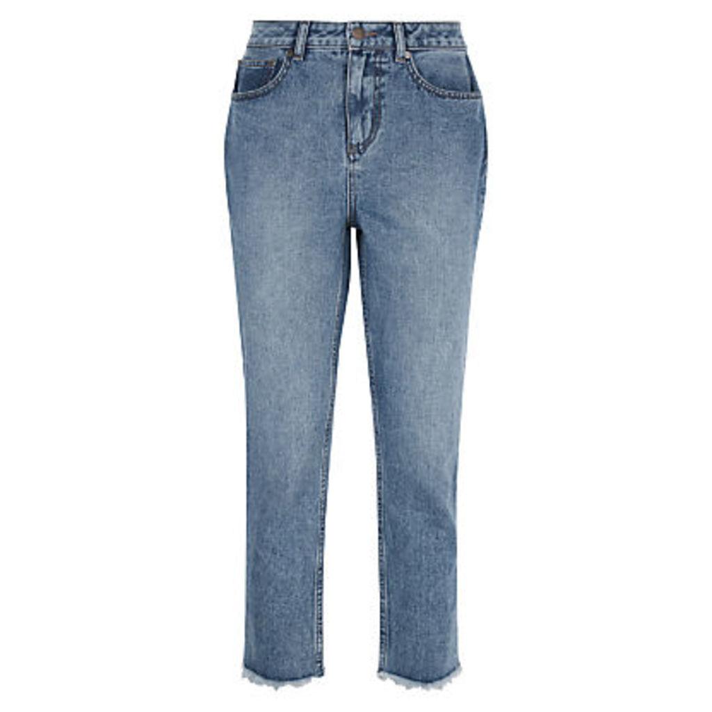 Jaeger Raw-Hem Cropped Jeans, Mid Blue