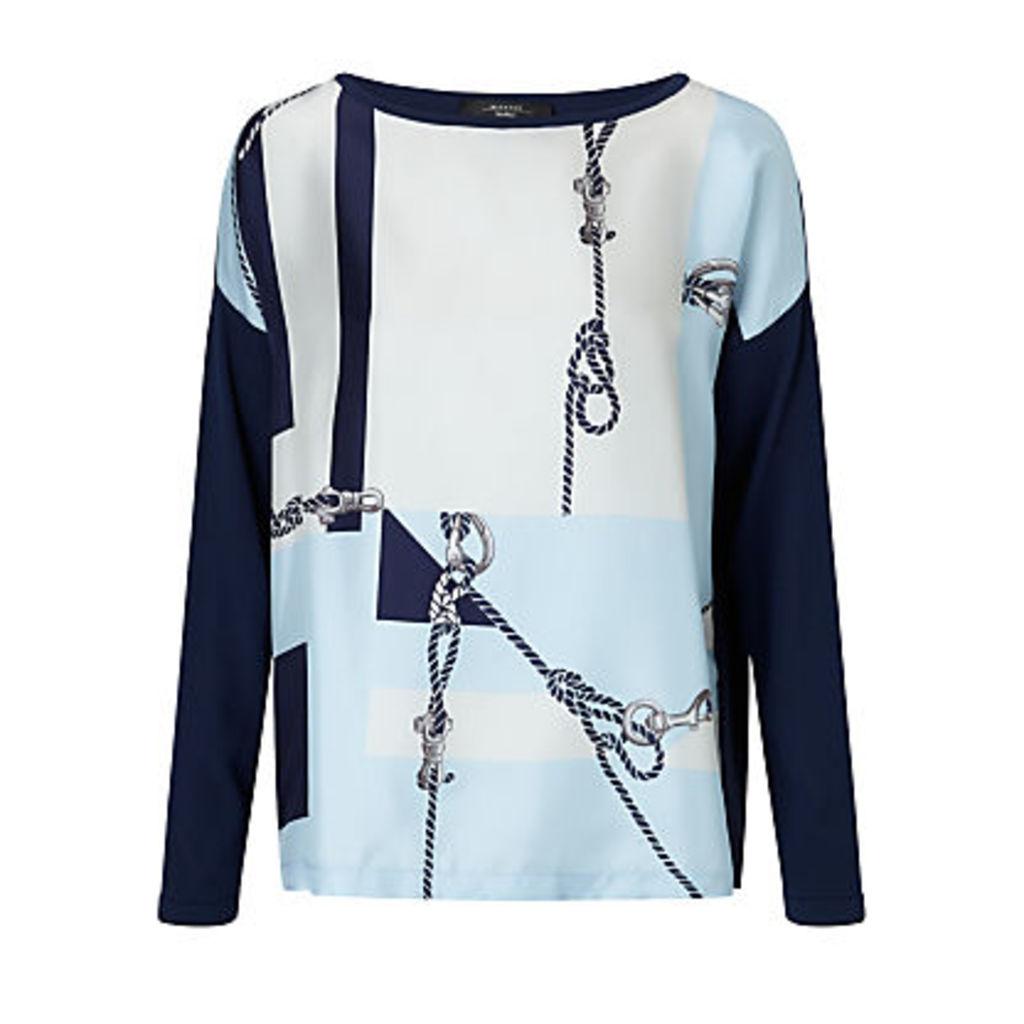 Weekend MaxMara Dleslie Rope Print Silk Top, Ultramarine
