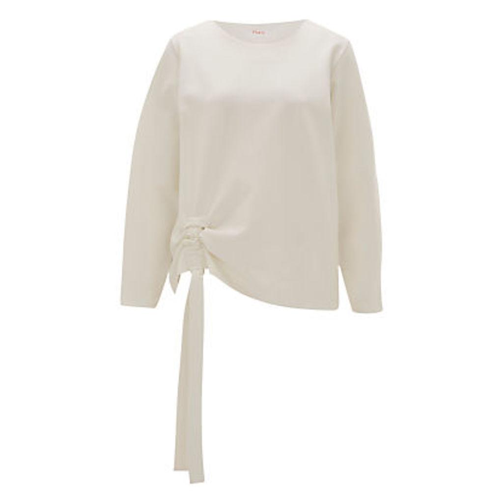 Finery Odessa Ruched Jersey Sweatshirt, Ecru