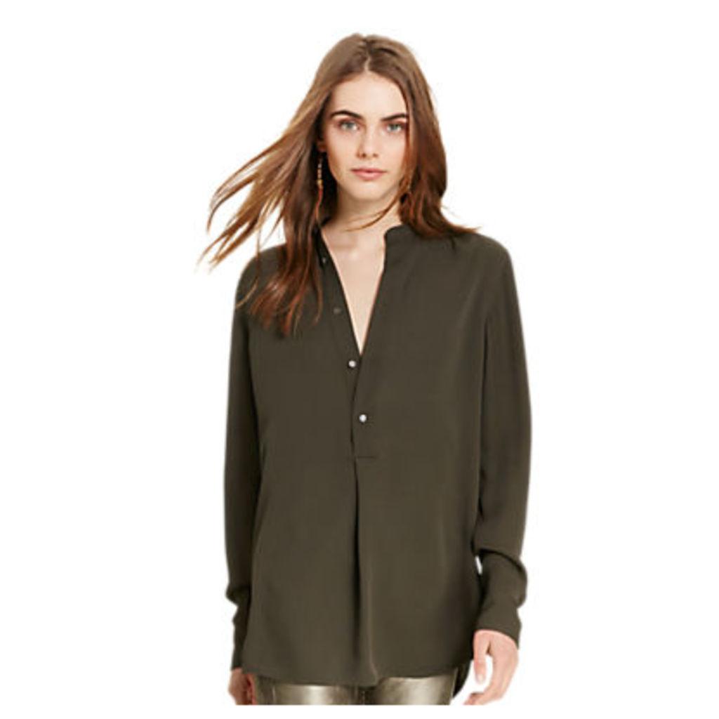 Polo Ralph Lauren Long Sleeve Silk Shirt, Carbon Graphite