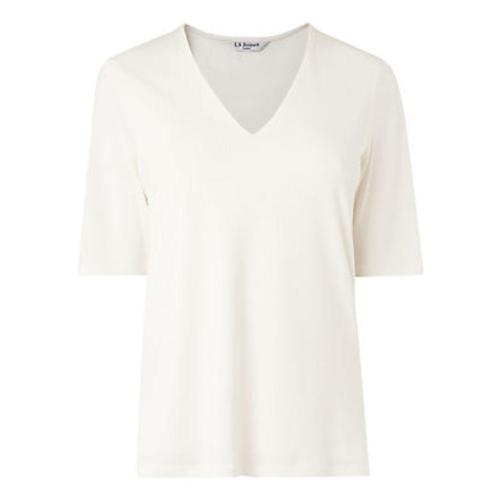 L.K. Bennett Orla V-Neck Jersey Top, Cream