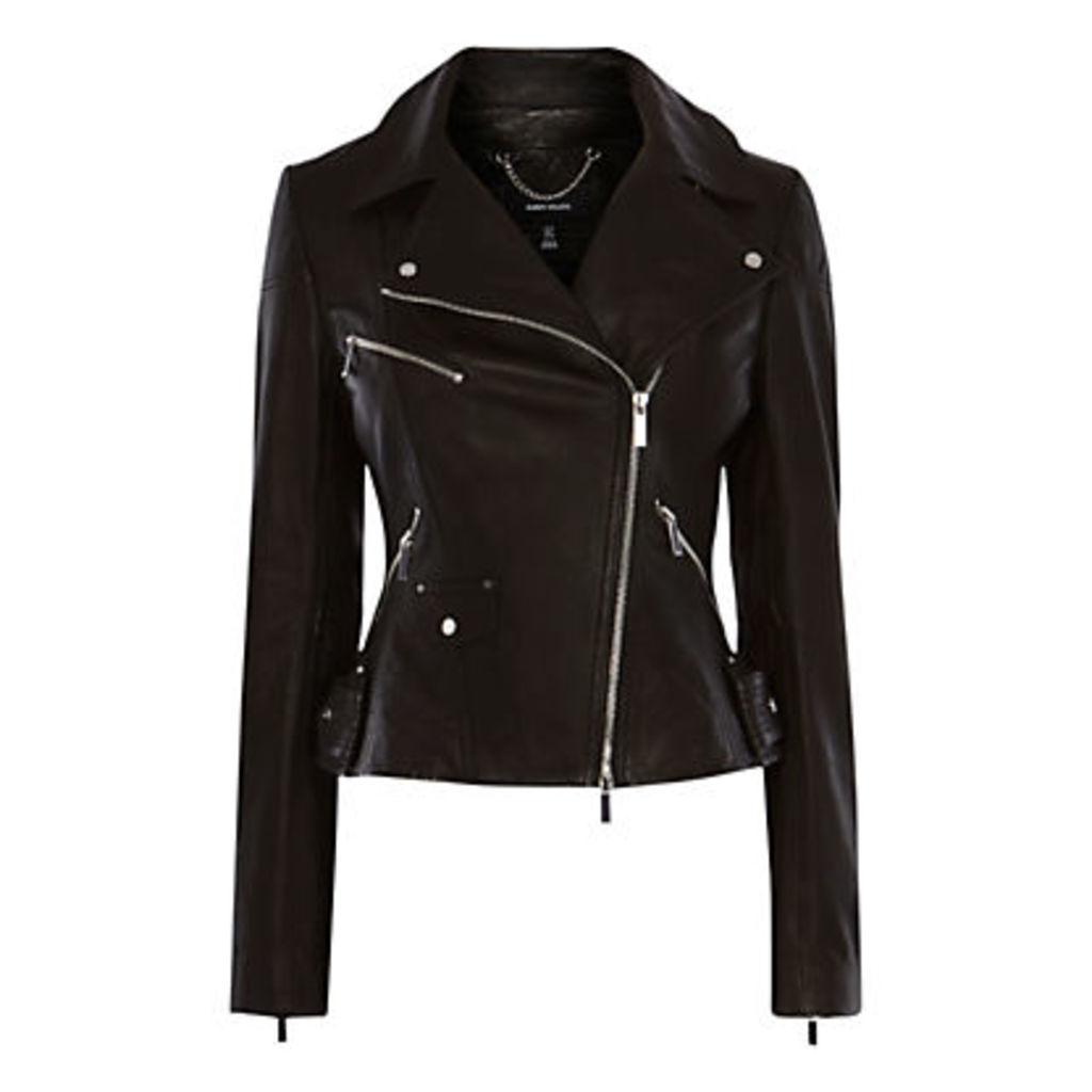 Karen Millen Signature Leather Biker Jacket, Black