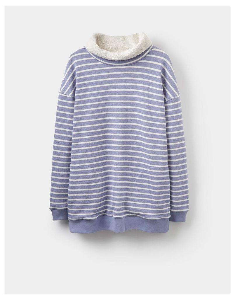 Mid Blue Stripe Blakeney Funnel Neck Sweatshirt  Size 16   Joules UK