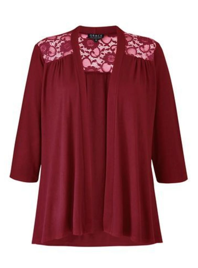 Grace Berry Red Lace Panel Cardigan, Berry