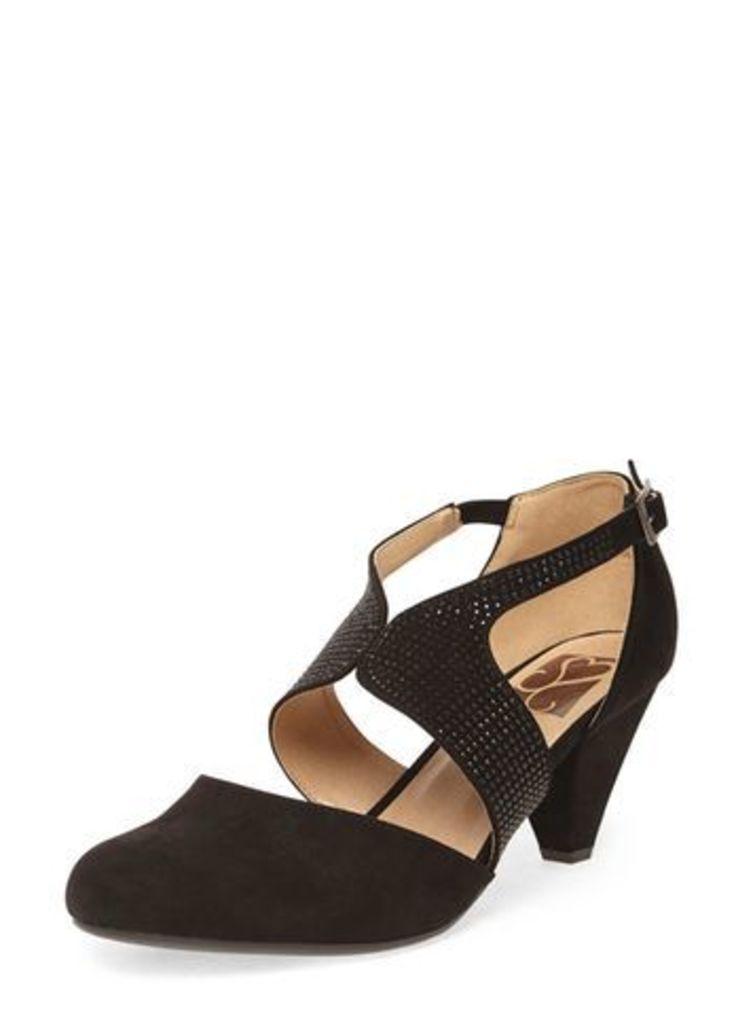 Black Suedette Gem Cut Out Heels, Black