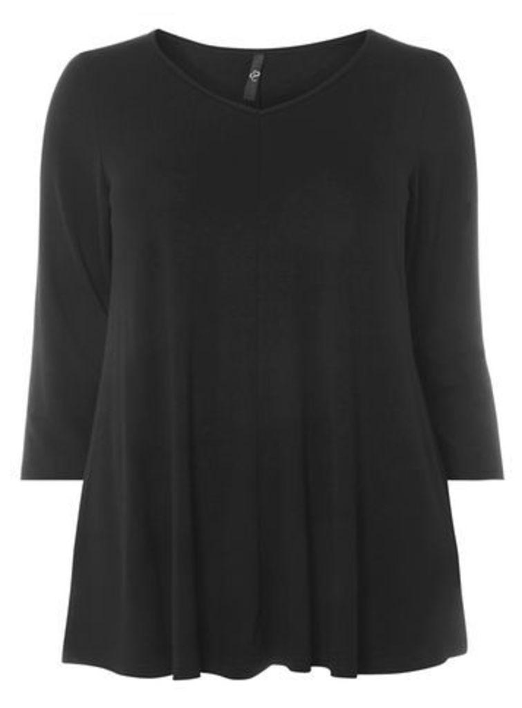 Black 3/4 Sleeve Top, Black