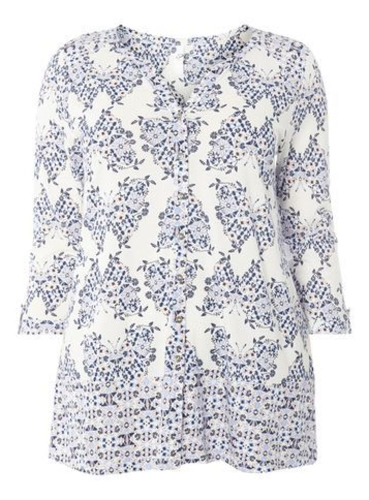 Ivory Butterfly Print Shirt, Ivory