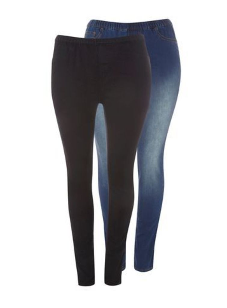 Black And Mid Wash 2 Pack Jeggings, Others