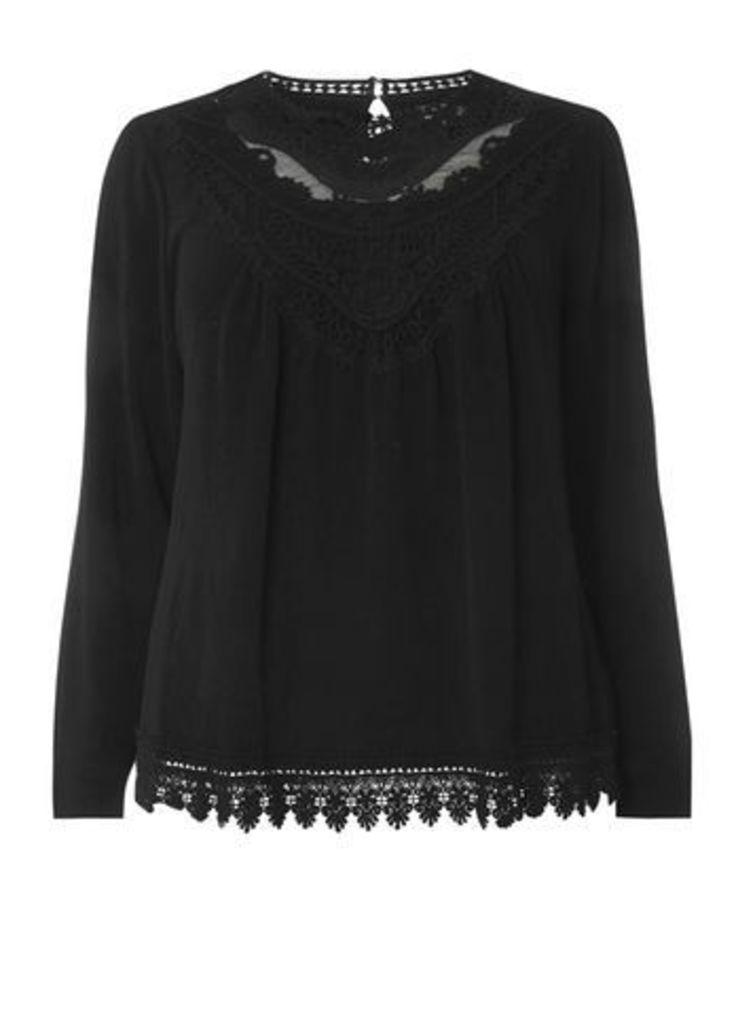 Lovedrobe Black Crochet Trim Top, Black