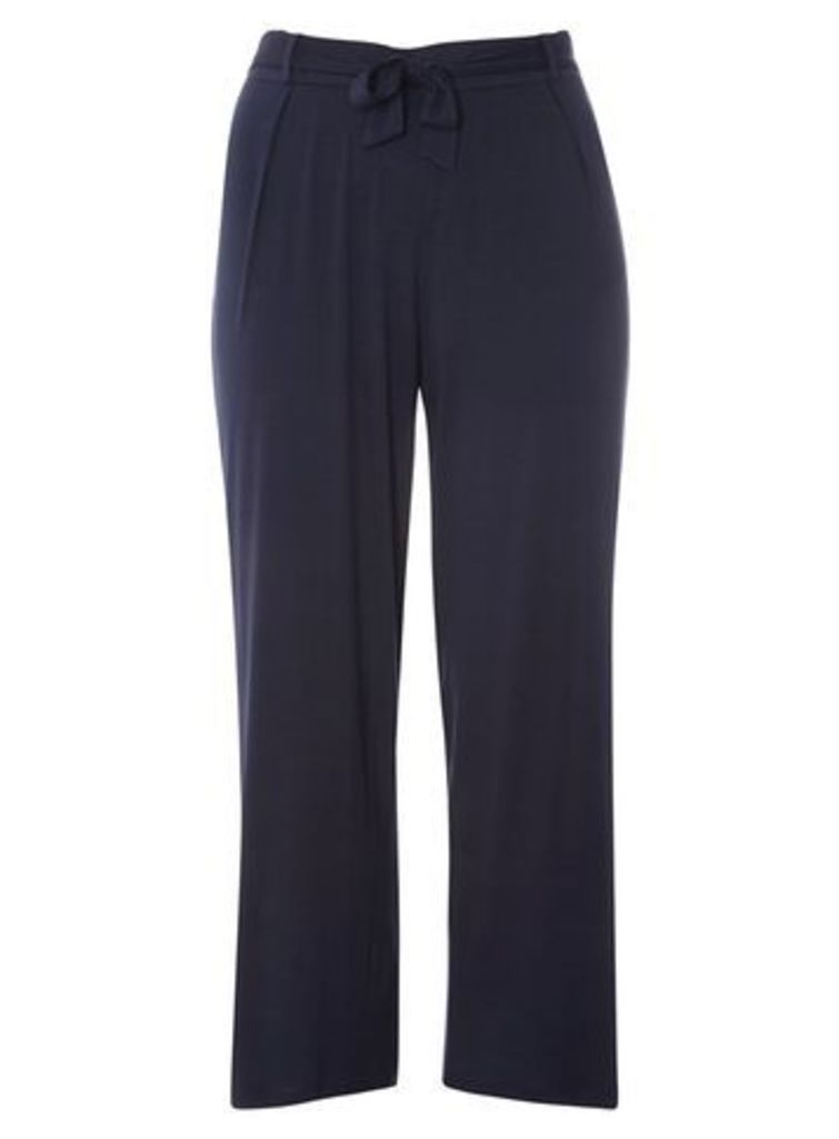 Navy Blue Tie Front Wide Leg Trousers, Navy