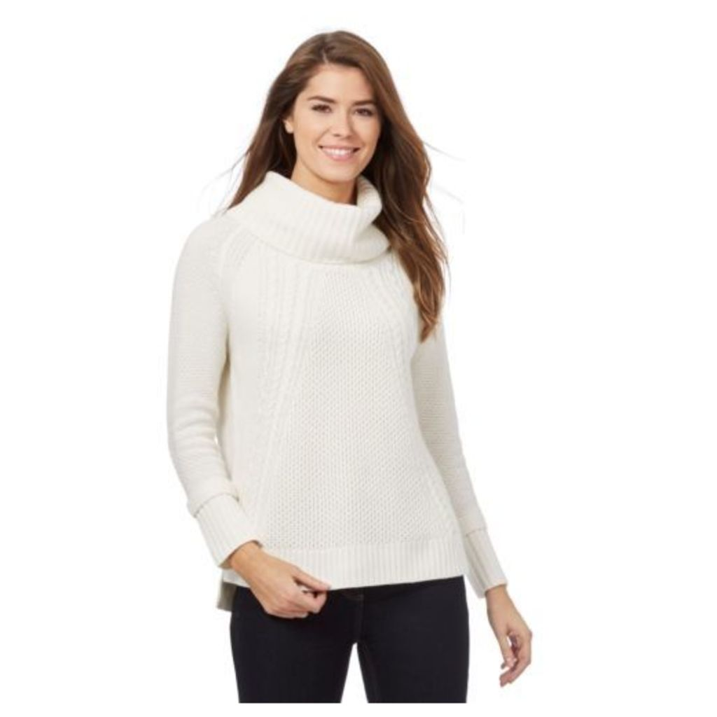 J By Jasper Conran Womens White Chunky Knit Cowl Neck Jumper With Wool 18