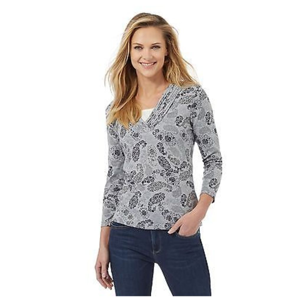 Maine New England Womens Grey Floral Paisley Print Pleated V Neck Top