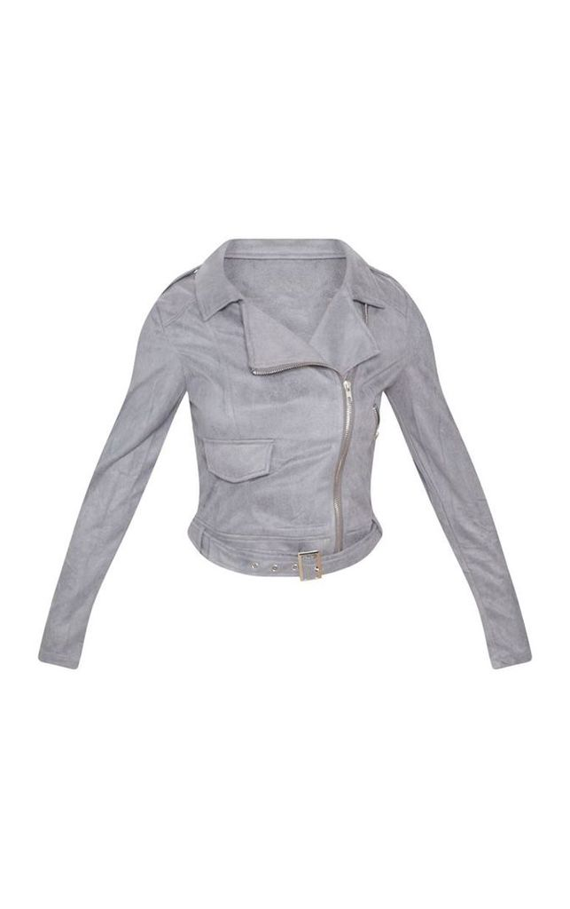 Niki Grey Faux Suede Biker Jacket, Grey