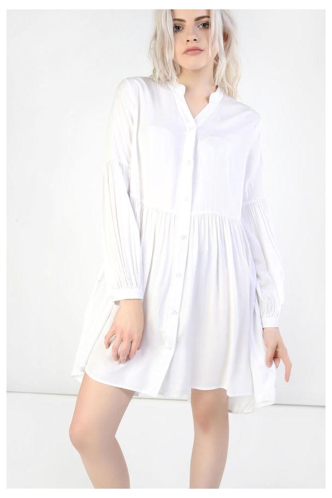 White Pleated Skater Dress
