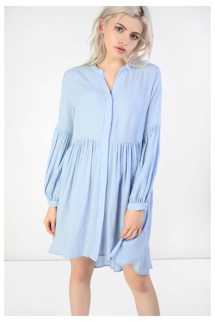 Powder Blue Pleated Skater Dress