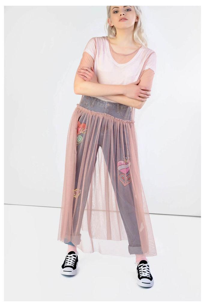 Pink Sheer Mesh Midi Dress