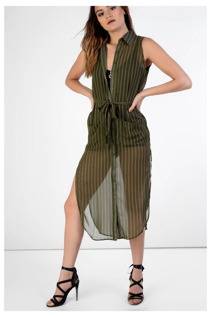 Khaki Stripe Midi Shirt Dress