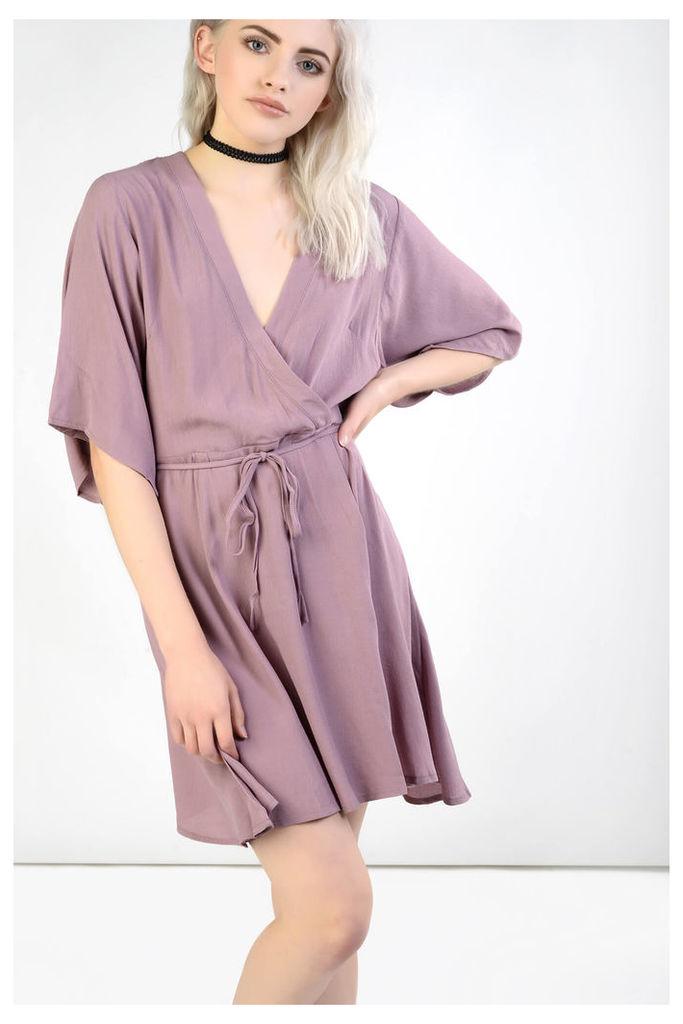 Mauve Kimono Wrap Dress