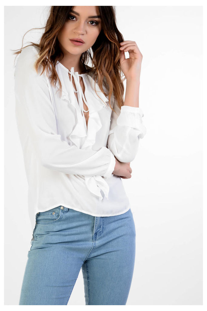 White Tie Up Ruffle Detail Blouse