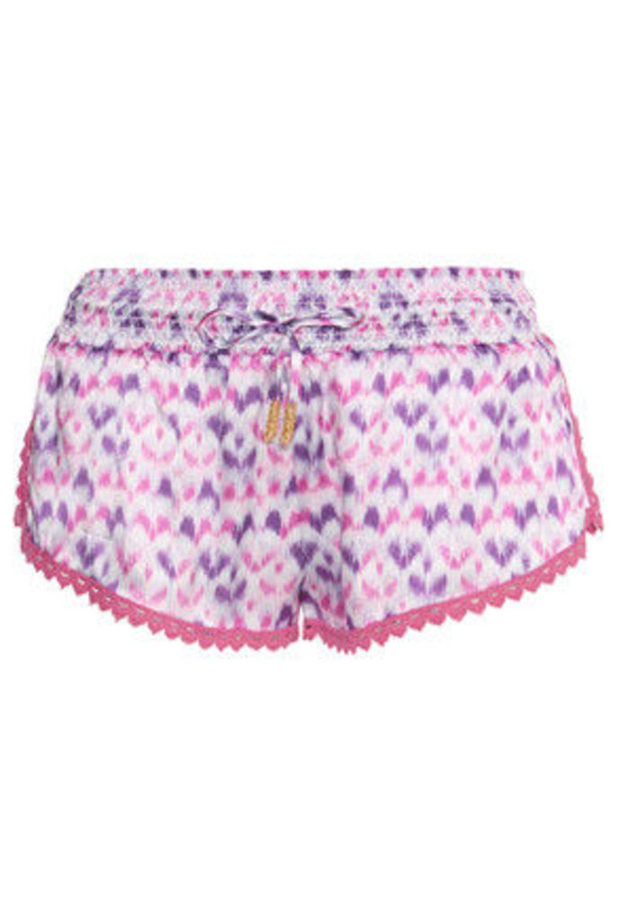 Paloma Blue - Paloma Printed Silk-satin Shorts - Purple