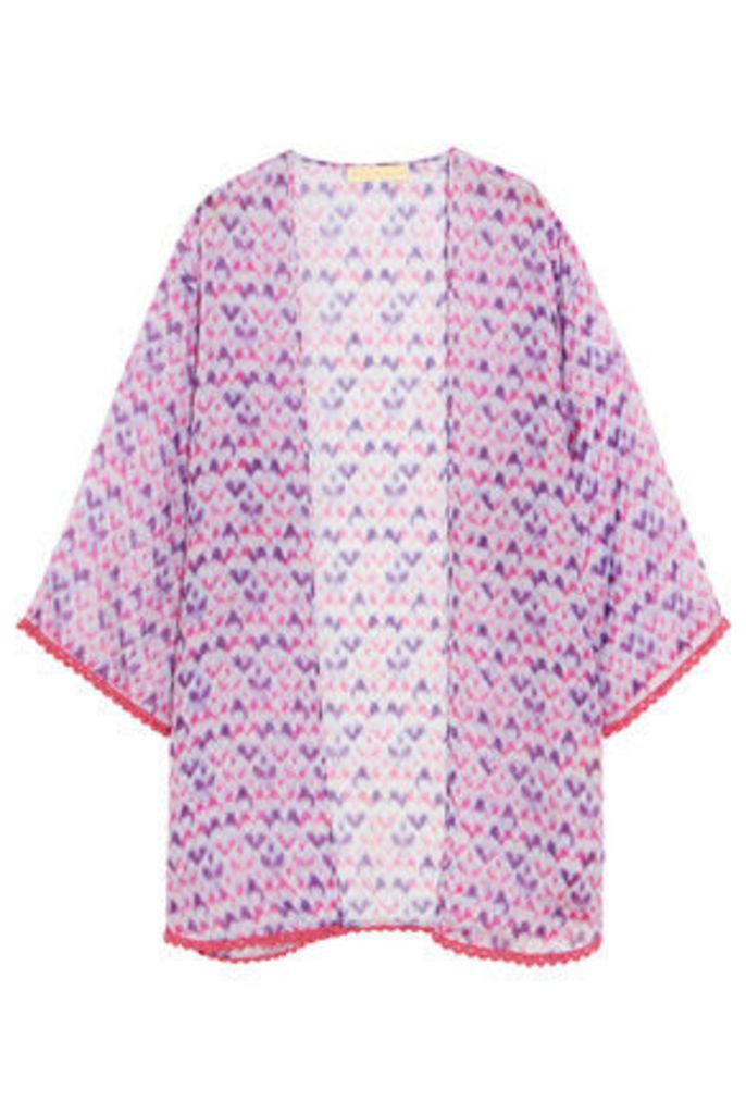 Paloma Blue - Maldives Printed Silk-chiffon Kimono - Violet