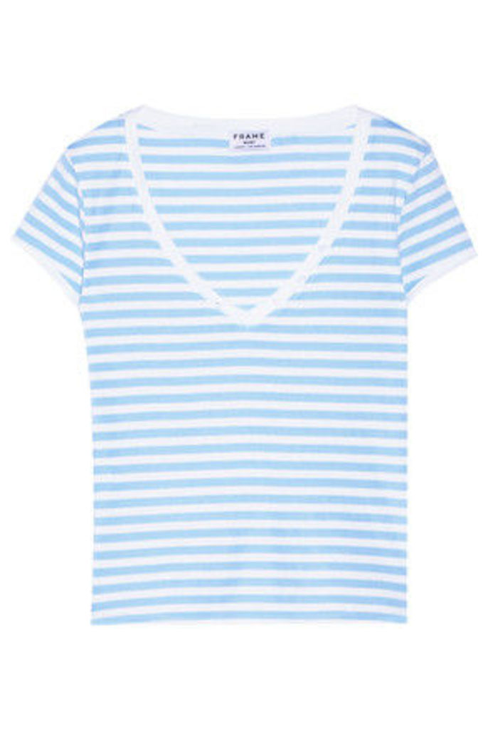 FRAME - Le Button Striped Stretch-cotton Jersey T-shirt - Blue