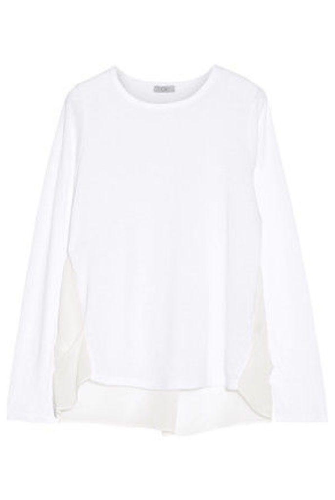 CLU - Silk Georgette-paneled Cotton And Modal-blend Jersey Top - White