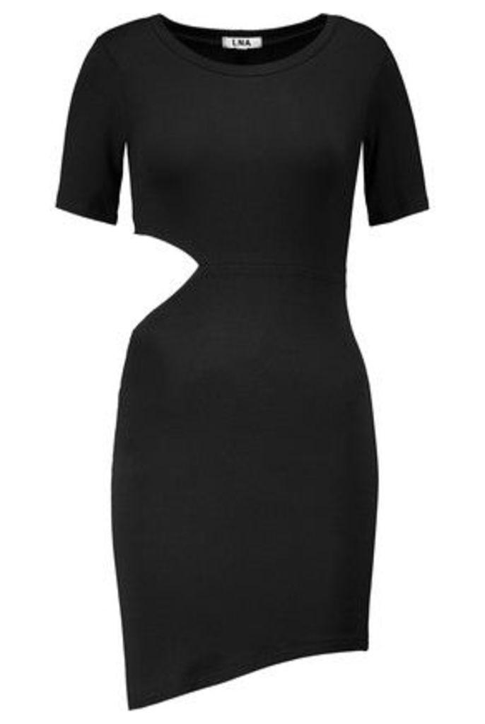 LNA - Cutout Stretch-jersey Mini Dress - Black