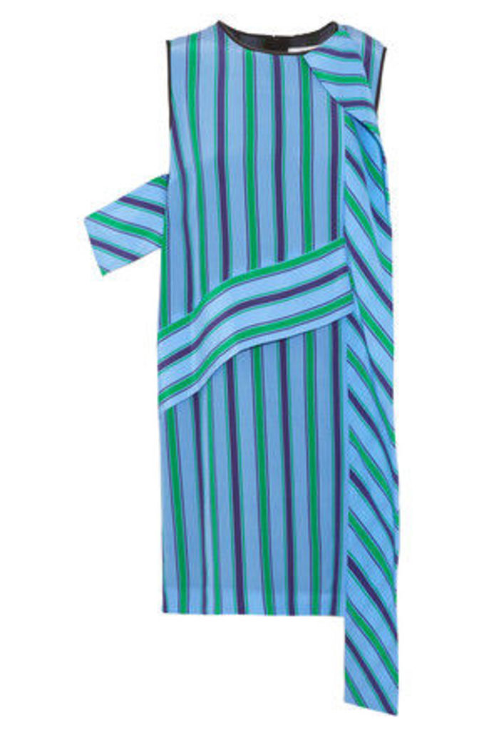 MSGM - Layered Striped Silk Mini Dress - Sky blue
