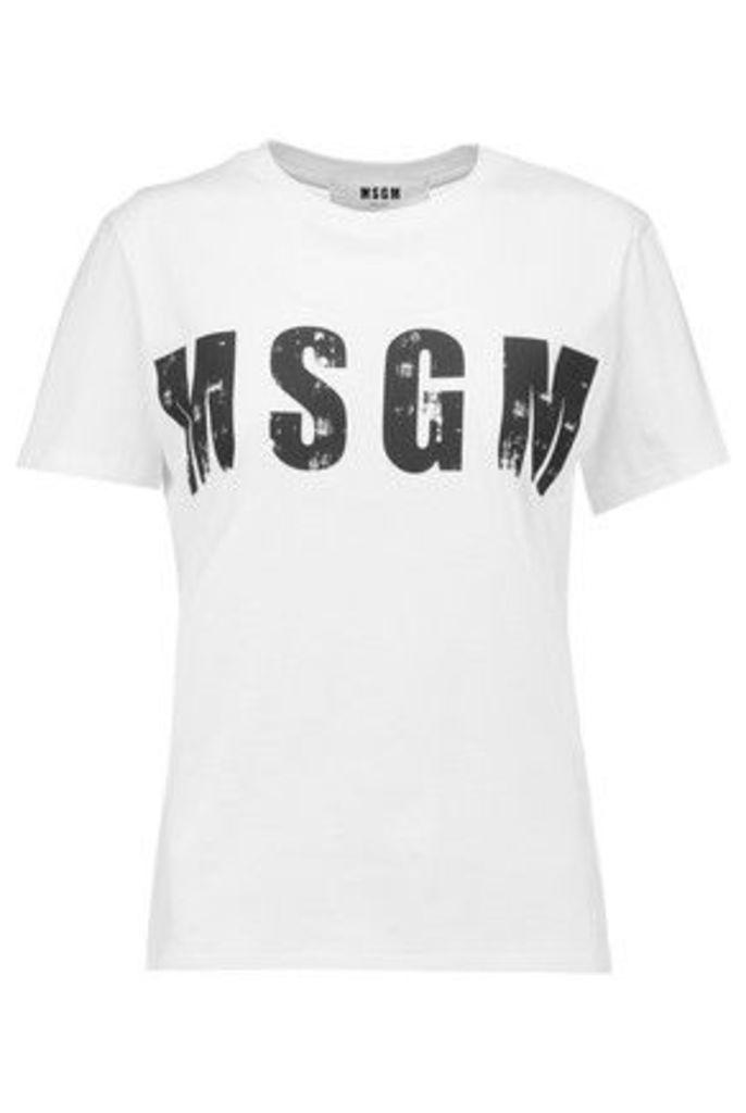 MSGM - Printed Cotton-jersey T-shirt - White