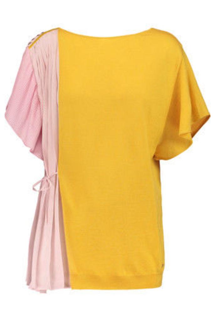 Vionnet - Plissé Crepe-paneled Wool, Cashmere And Silk-blend Jersey Top - Yellow