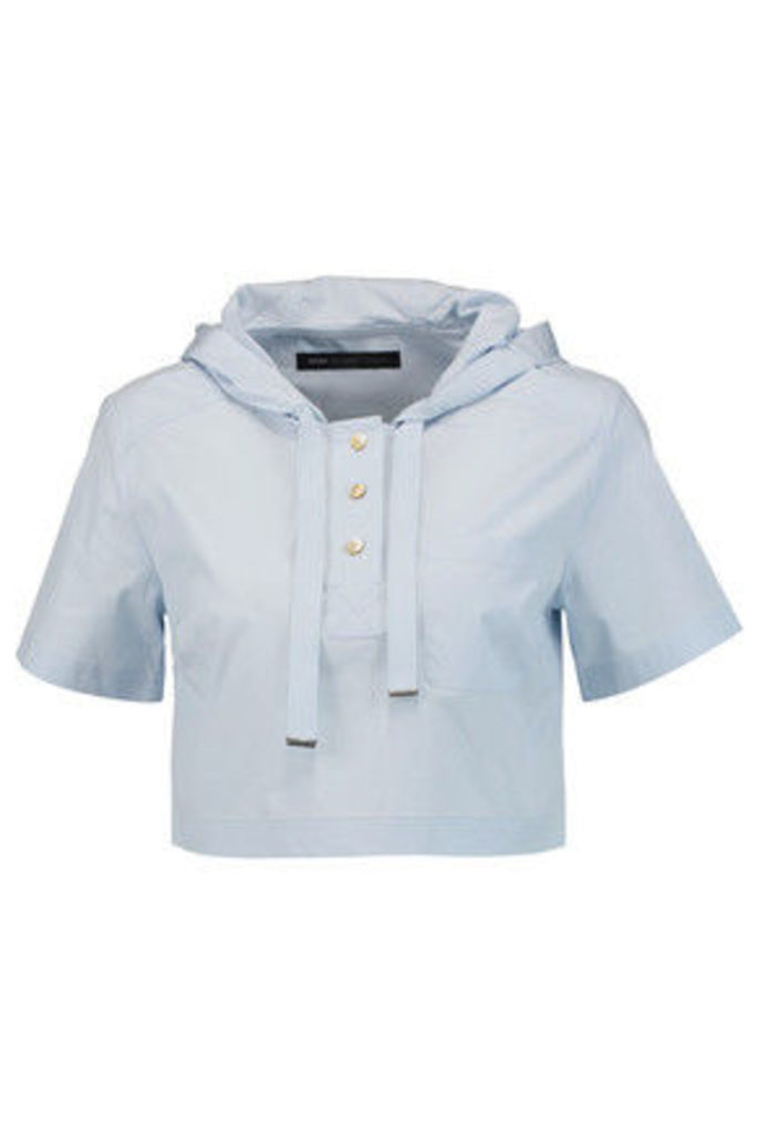 Marc by Marc Jacobs - Cropped Stretch-cotton Poplin Hooded Top - Sky blue