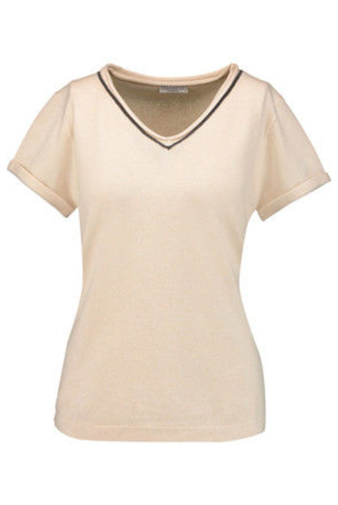 Brunello Cucinelli - Bead-embellished Wool, Cashmere And Silk-blend Sweater - Cream