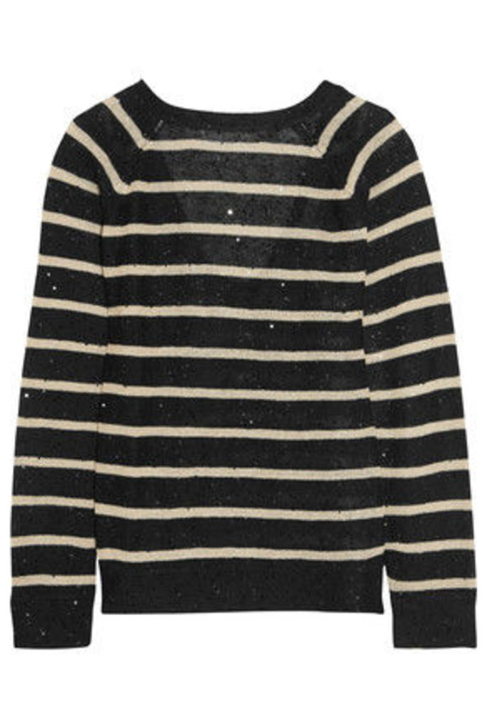 Brunello Cucinelli - Sequin-embellished Striped Open-knit Linen And Silk-blend Sweater - Black
