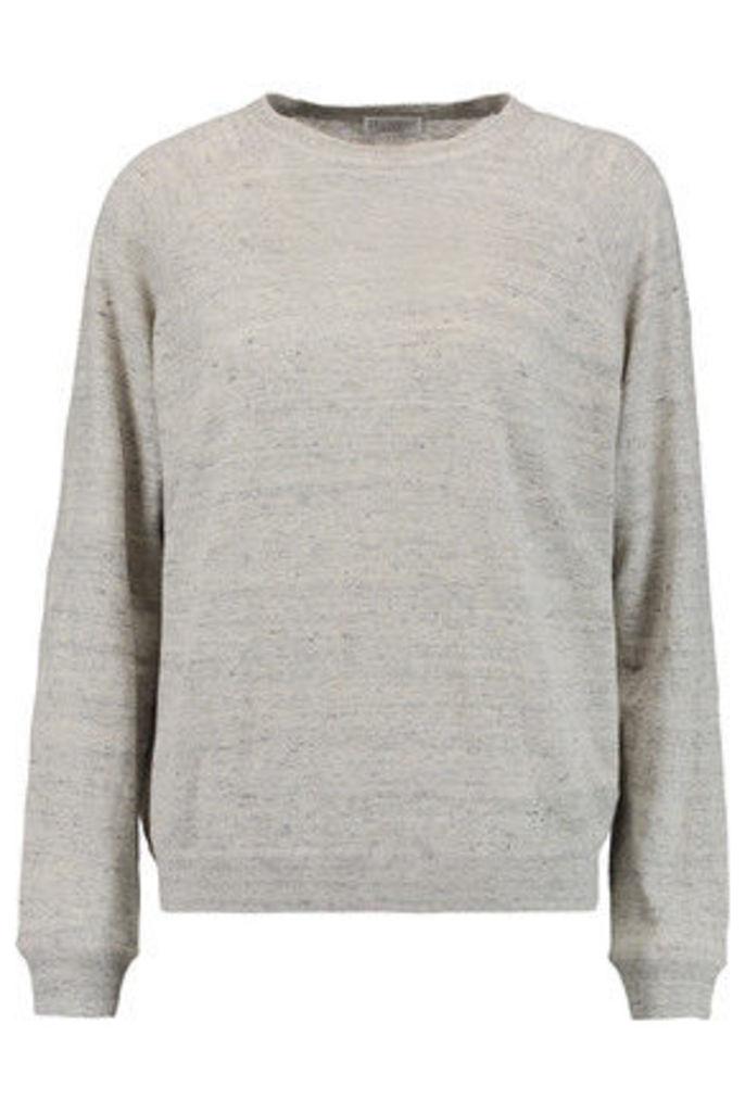 Brunello Cucinelli - Metallic Linen-blend Sweater - Light gray