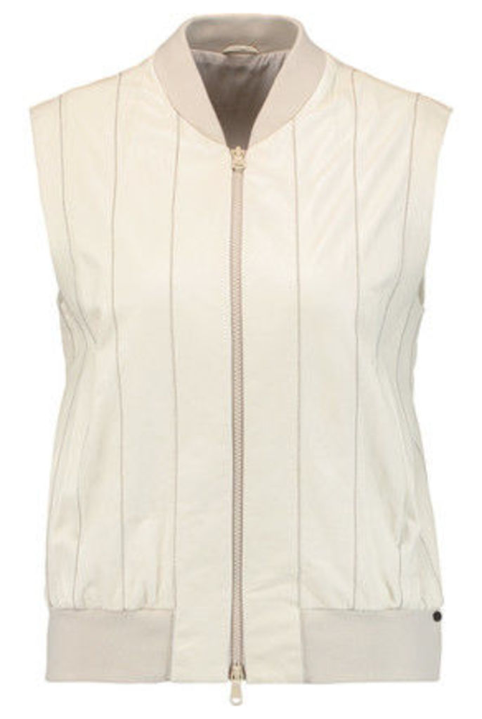 Brunello Cucinelli - Bead-embellished Leather Vest - Off-white