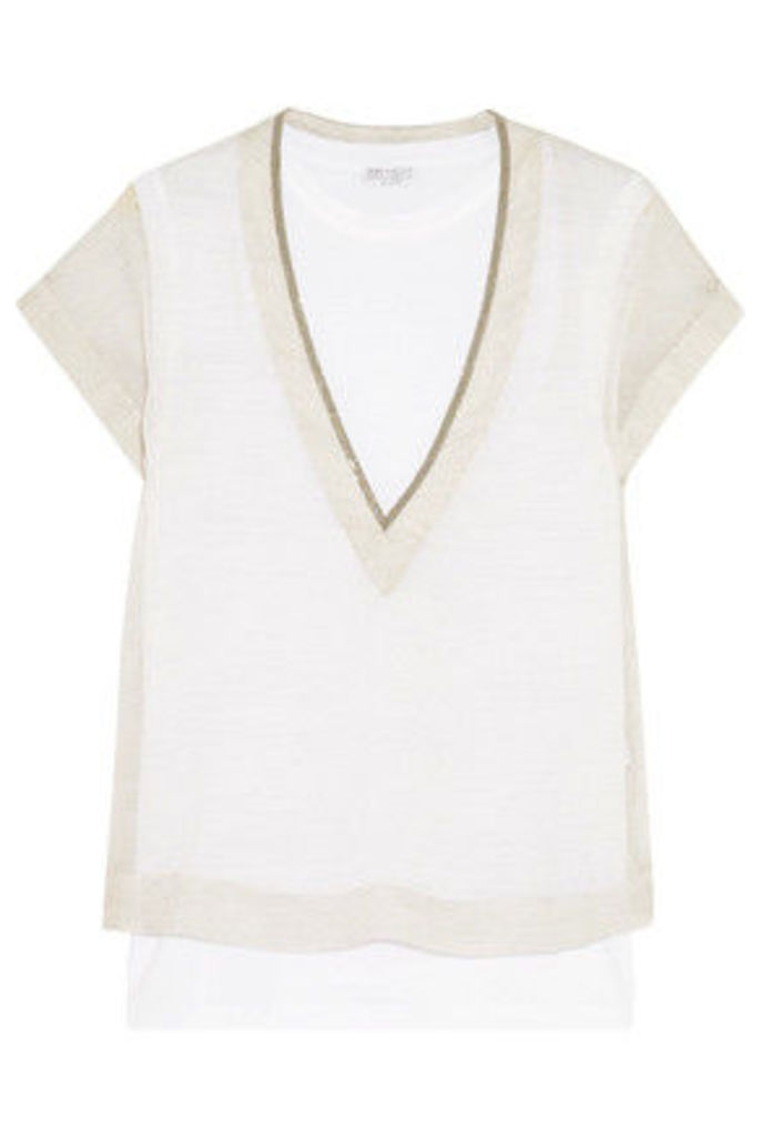 Brunello Cucinelli - Printed Silk-chiffon And Stretch-cotton Top And Tank Set - White