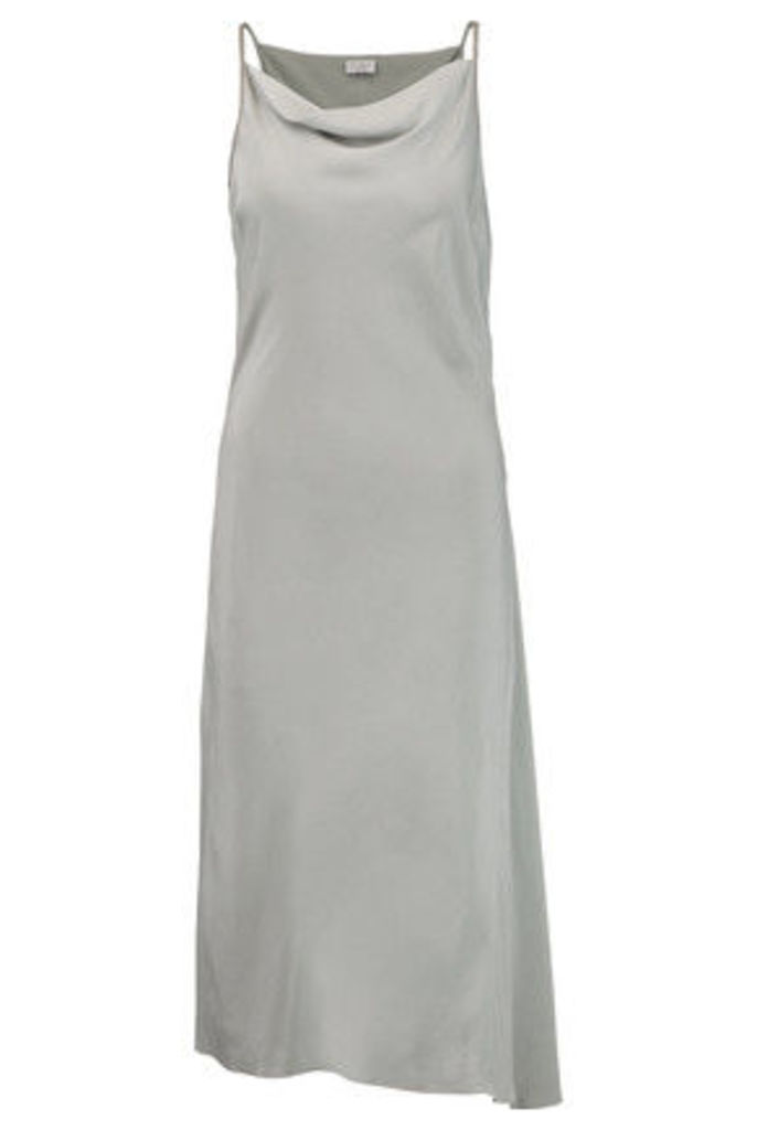 Brunello Cucinelli - Embellished Stretch-silk Midi Dress - Gray green