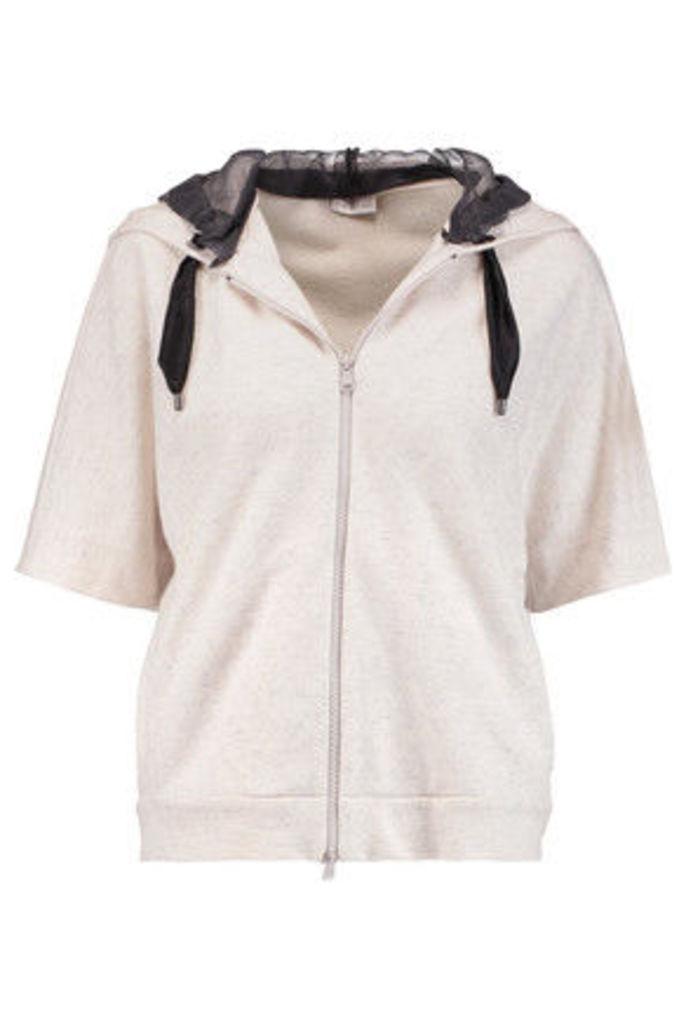 Brunello Cucinelli - Silk Organza-paneled Cashmere And Cotton-blend Hooded Sweatshirt - Off-white