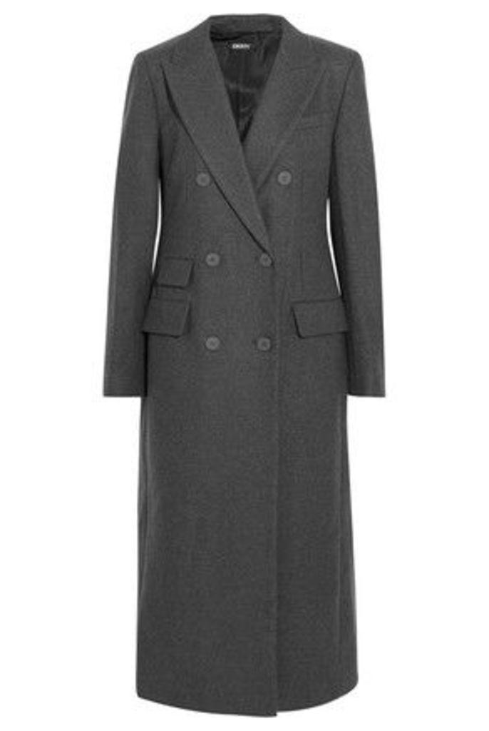 DKNY - Embellished Wool-blend Felt Coat - Anthracite