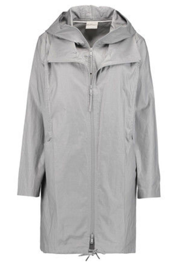 DKNY - Coated Linen And Cotton-blend Hooded Jacket - Gray