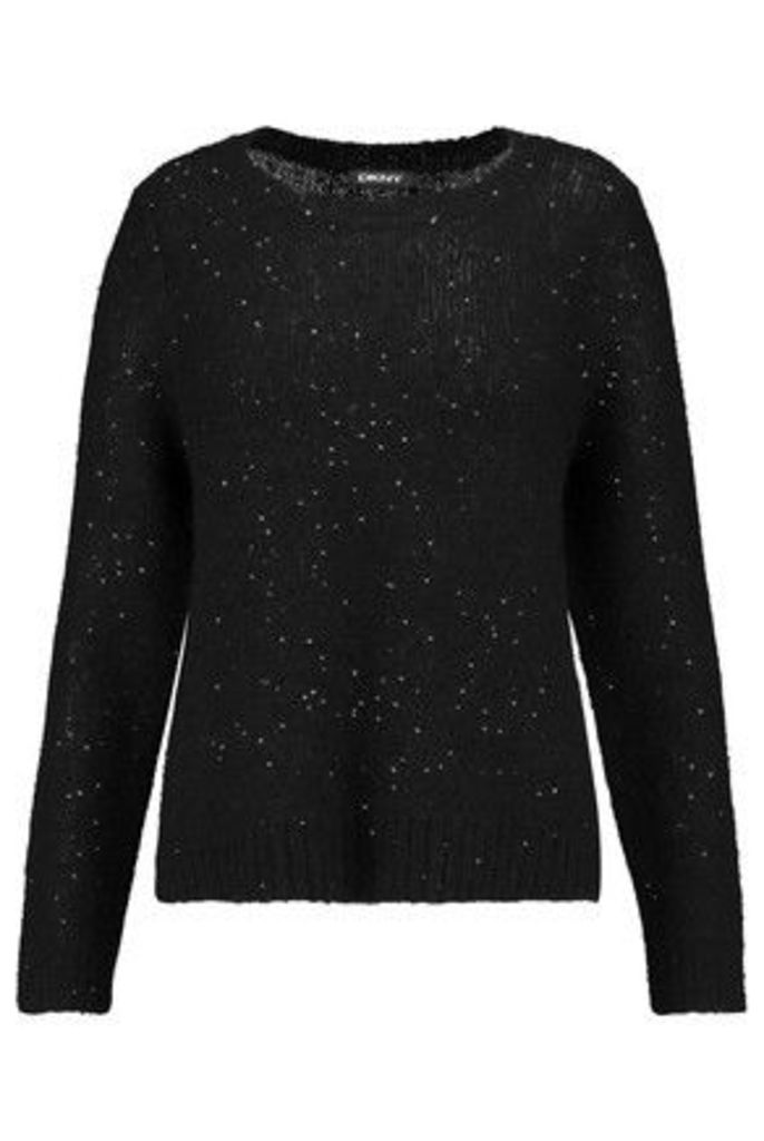 DKNY - Sequined Textured-knit Sweater - Black