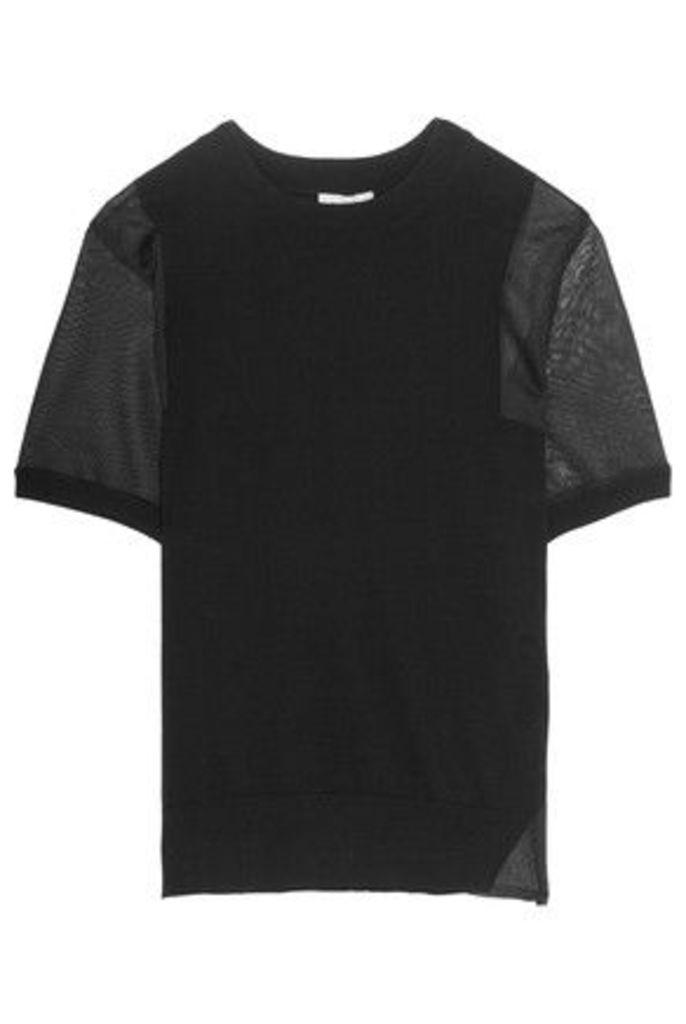 DKNY - Sheer-paneled Cotton-blend Top - Black