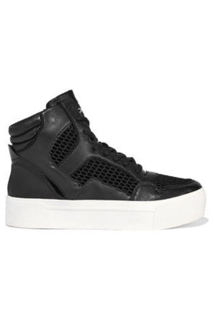 DKNY - Bosley Leather And Mesh High-top Sneakers - Black