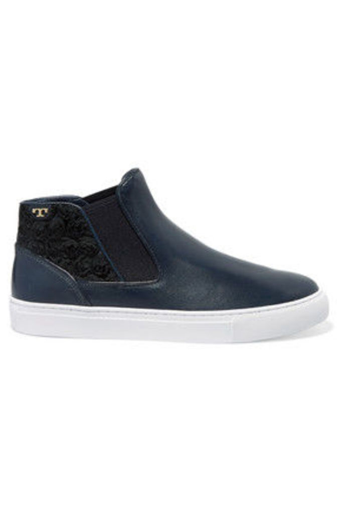 Tory Burch - Rosette Appliquéd Leather High-top Sneakers - Navy