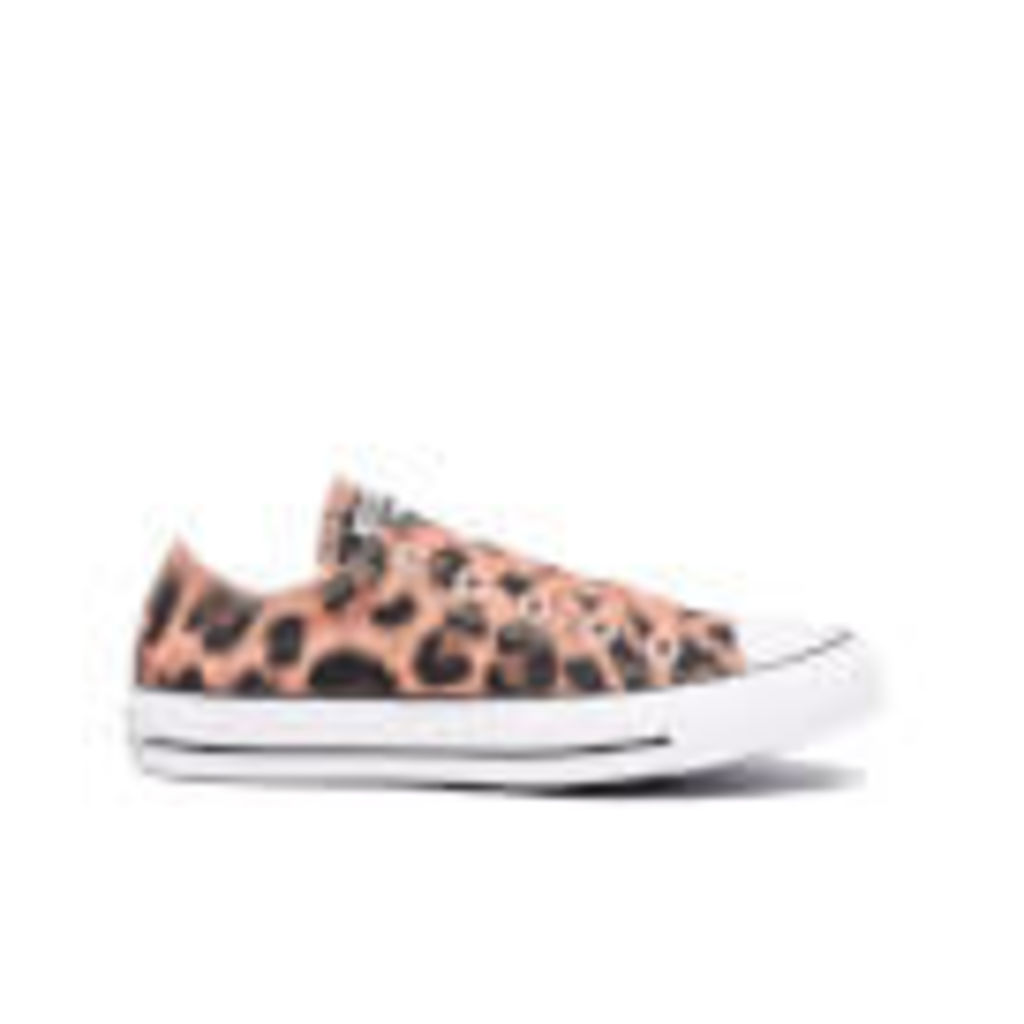 Converse Women's Chuck Taylor All Star Animal Print OX Trainers - Pink Blush/Black